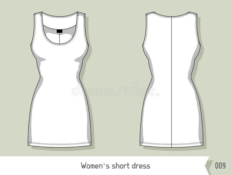 Kvinnor kortsluter klänningen Mall för design, lätt som är redigerbar vid lager vektor illustrationer