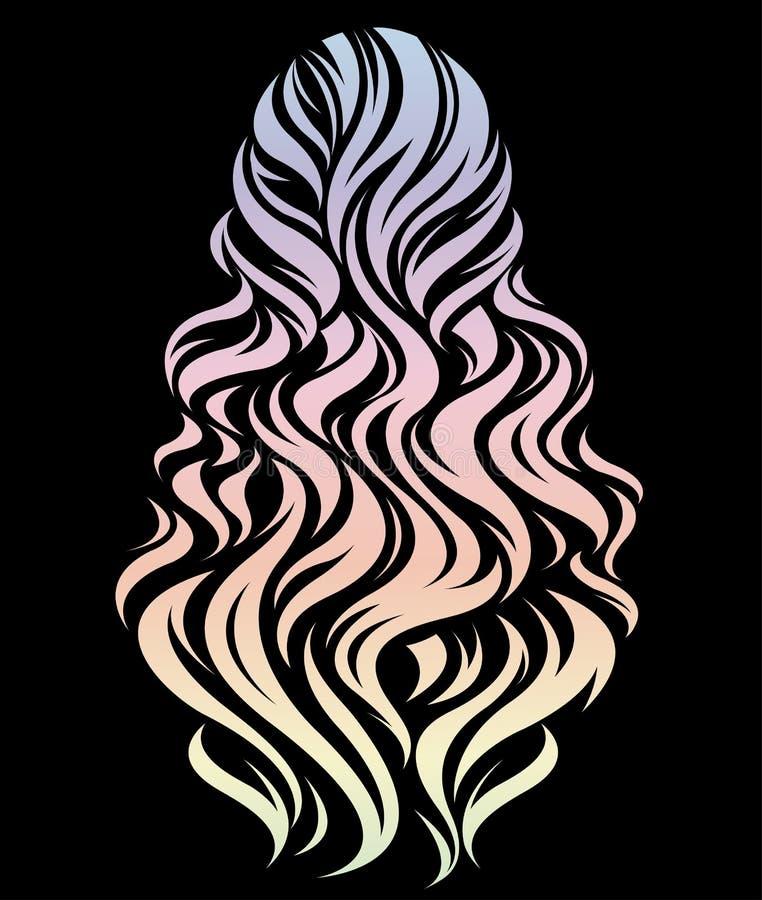 Kvinnor lång frisyr, härlig hårfärg på svart bakgrund vektor illustrationer