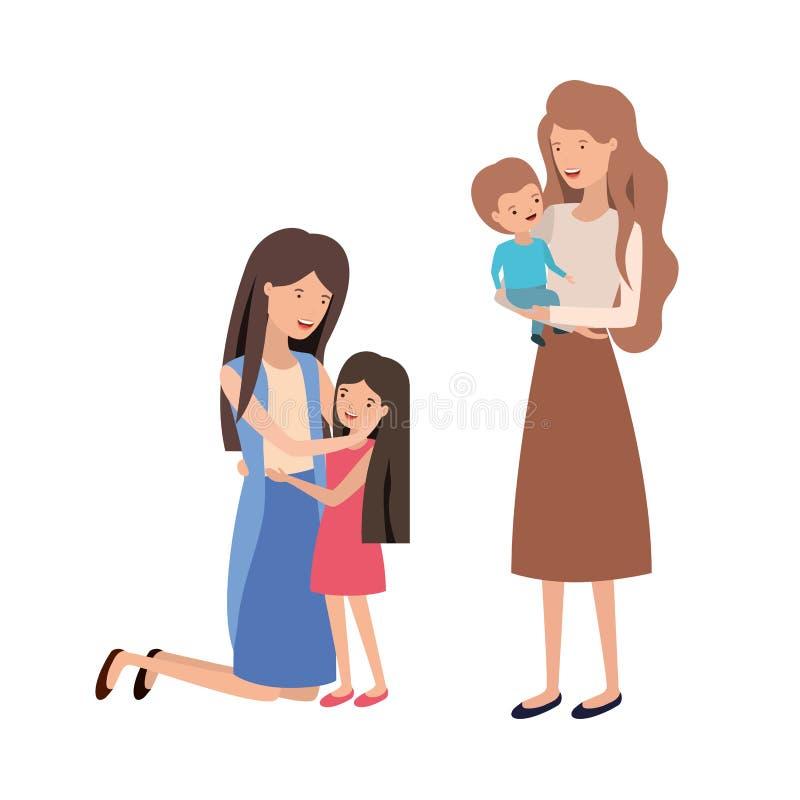 Kvinnor med barnavatarteckenet royaltyfri illustrationer