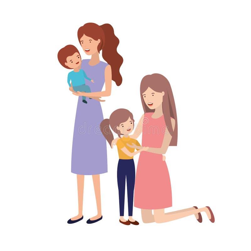 Kvinnor med barnavatarteckenet vektor illustrationer