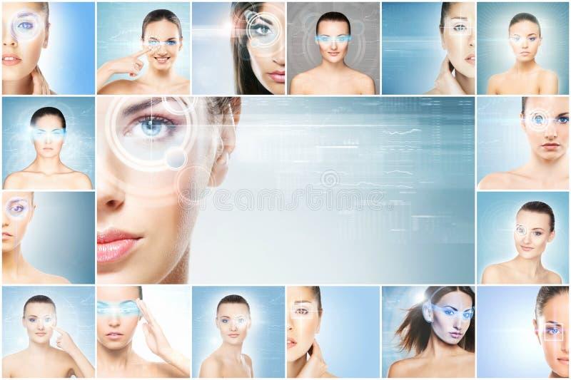Kvinnor med ett digitalt laser-hologram på ögoncollage arkivbild