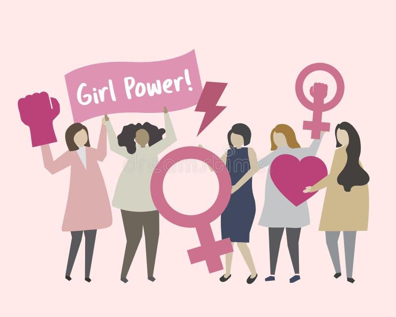 Kvinnor med feminism- och flickamaktillustrationen stock illustrationer