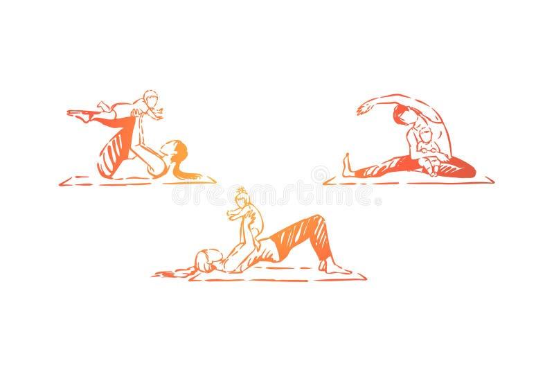 Kvinnor med små barn som gör gymnastik, hälsovård för familjkonditionövning, mamma- och barn, behandla som ett barn yogauppsättni stock illustrationer