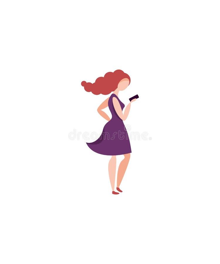 Kvinnor med smartphonen, färgrik teckenvektor royaltyfri illustrationer