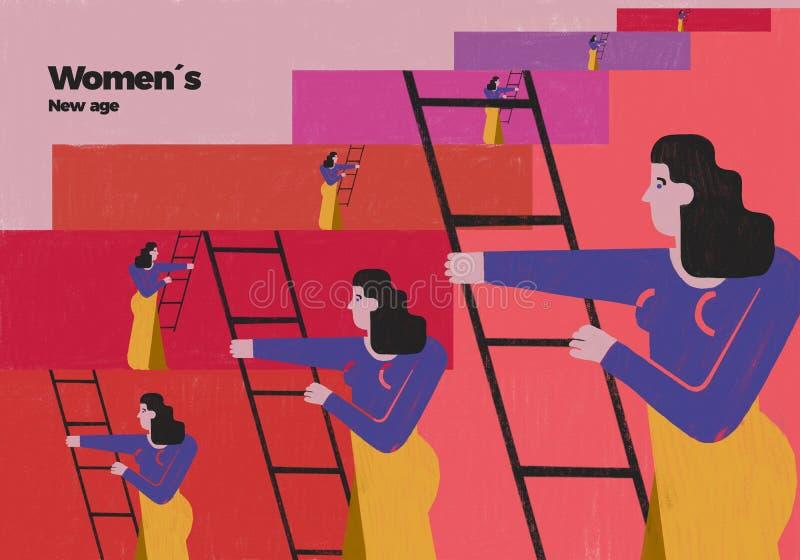Kvinnor ny social bemyndigande och löneförhöjning royaltyfri illustrationer