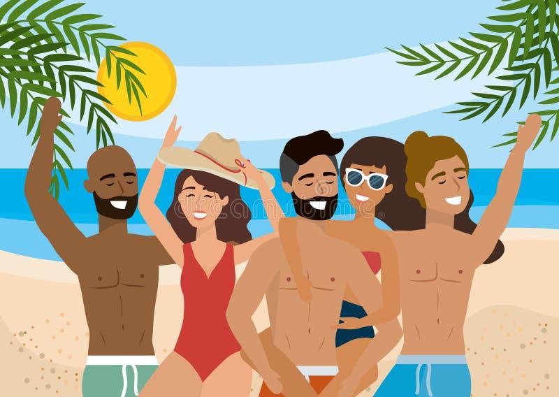 Kvinnor och män som bär bada kortslutningar och baddräkten med solglasögon och hatten royaltyfri illustrationer