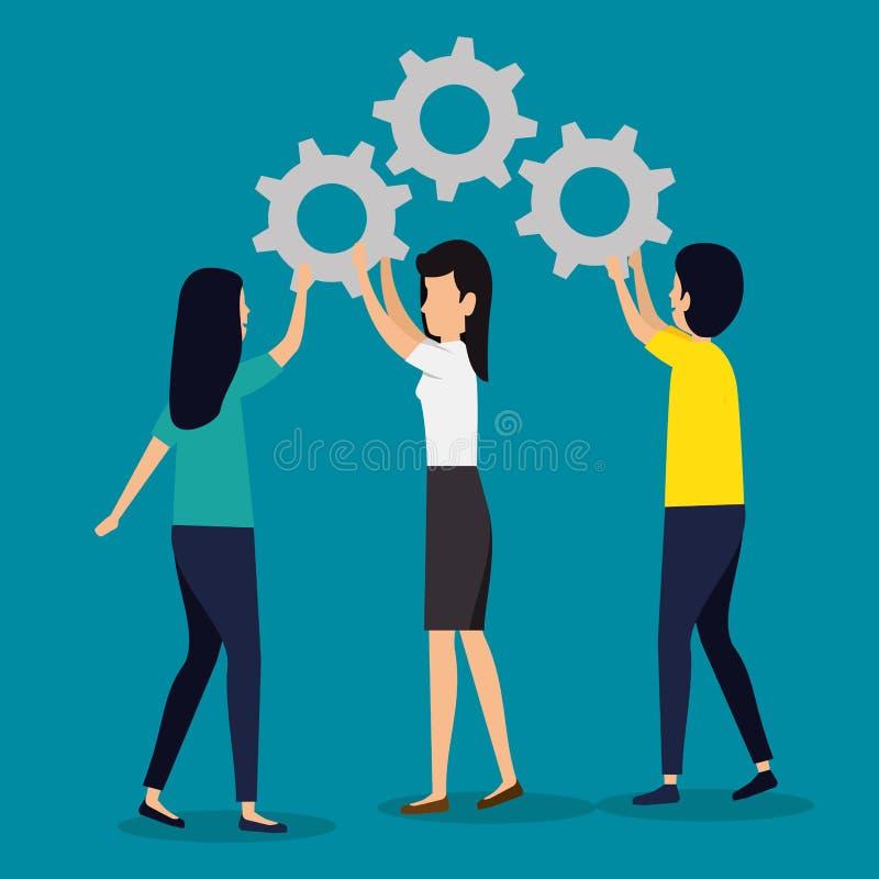 Kvinnor och manaffärsteamwork med kugghjul stock illustrationer