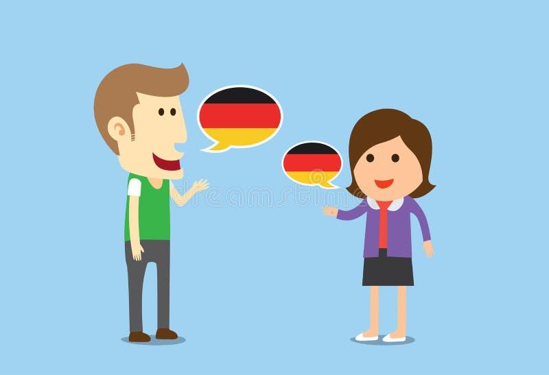Kvinnor och talande tysk för man royaltyfri illustrationer