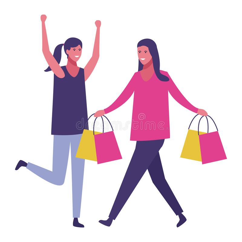 Kvinnor på shopping stock illustrationer