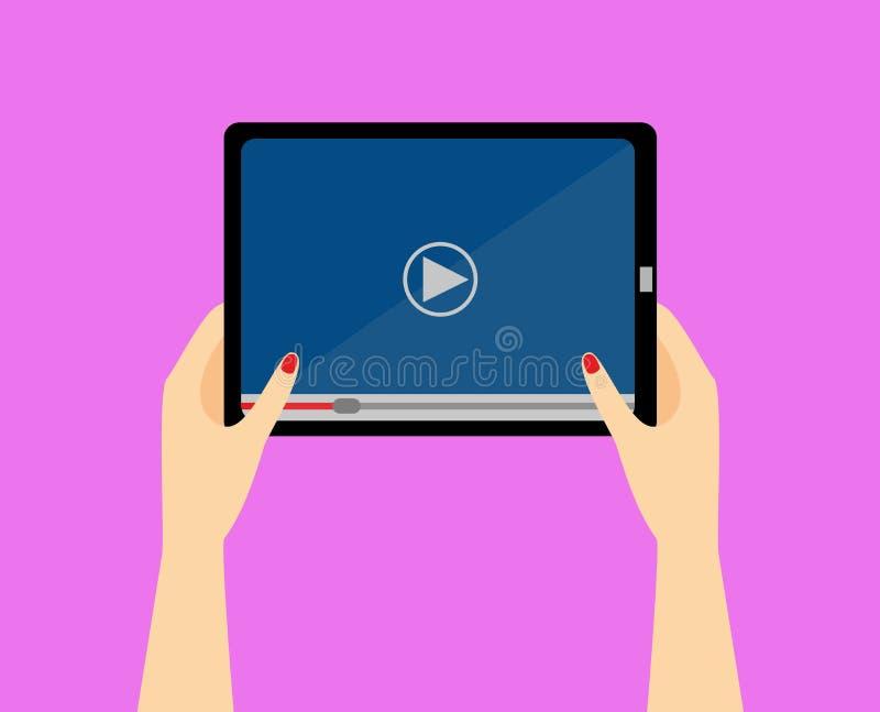 Kvinnor räcker hållsmartphonen Applikation för videospelare på din minnestavlaskärm Hållande ögonen på video på minnestavlan Mobi royaltyfri illustrationer