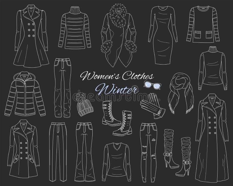 Kvinnor s beklär samlingen Vinterdräkt Vektorn skissar illustrationen stock illustrationer