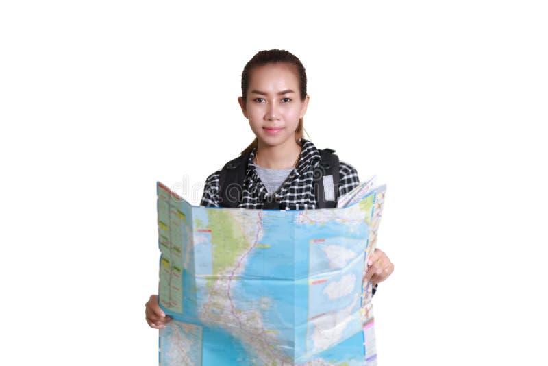 Kvinnor som är asiatiska med ryggsäcken och ser översikten Turist- handelsresandeisolator arkivfoto