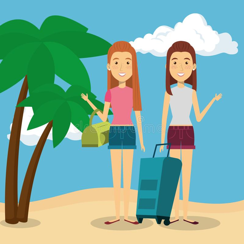 Kvinnor som är vänliga i stranden royaltyfri illustrationer