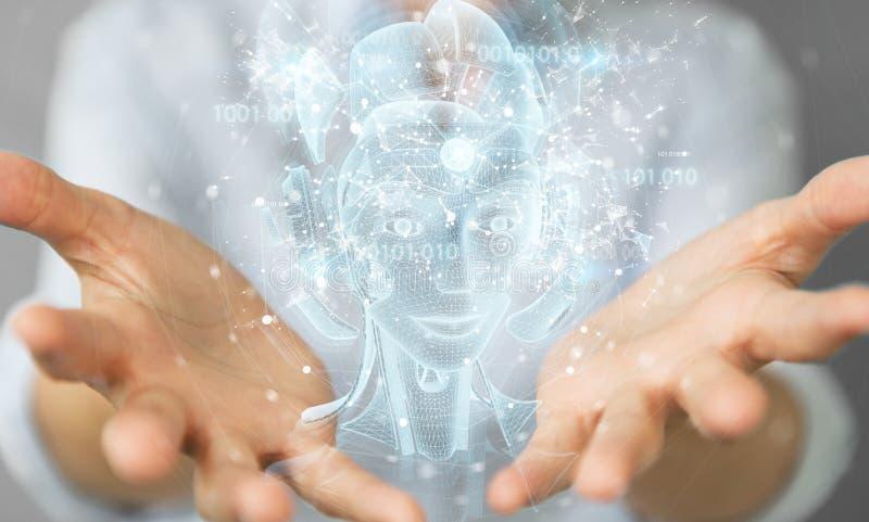 Kvinnor som använder digital, artificiell intelligens, holografisk projektion 3D-rendering arkivbild