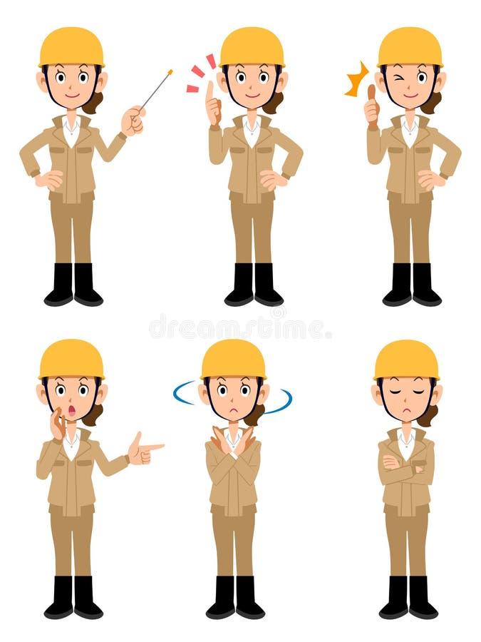 Kvinnor som arbetar i konstruktionsplatsen som bär beige arbetskläder vektor illustrationer