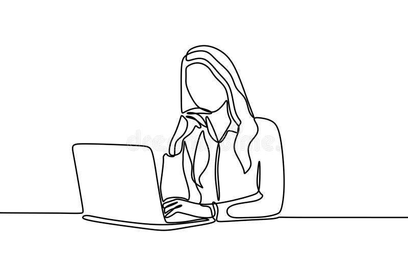 Kvinnor som arbetar på den fortlöpande en linjen minimalist design för kontor för teckning stock illustrationer