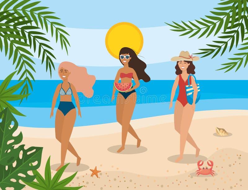 Kvinnor som bär baddräkten med solglasögon och hatten med handväskan i stranden stock illustrationer