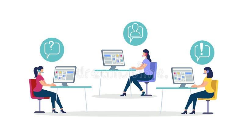 Kvinnor som bär huvuduppsättningen, sitter på skrivbord med datoren stock illustrationer