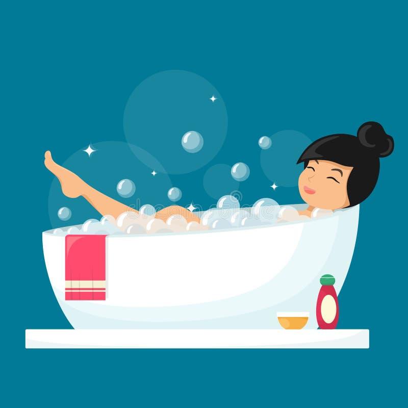 Kvinnor som badar Avslöjande flicka i badrum Vektorillustration i en platt stil i tecknad film vektor illustrationer