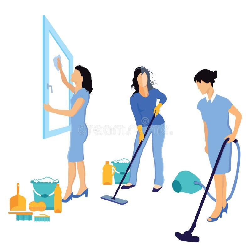 Kvinnor som gör ren huset royaltyfri illustrationer