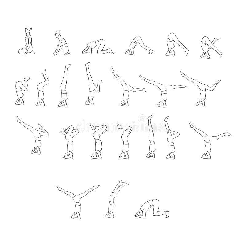 Kvinnor som gör yoga i olikt, poserar vektorillustrationen med svarta linjer som isoleras på vit bakgrund vektor illustrationer