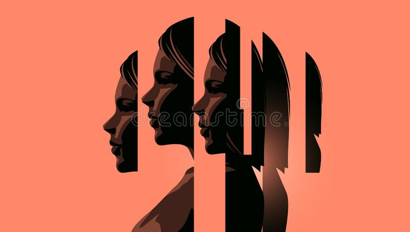 Kvinnor som handlar med mentala hälsor stock illustrationer
