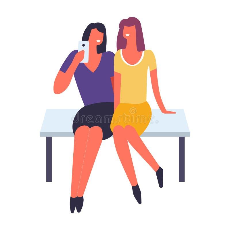 Kvinnor som har roligt och tillsammans tar vektorn för selfie vektor illustrationer