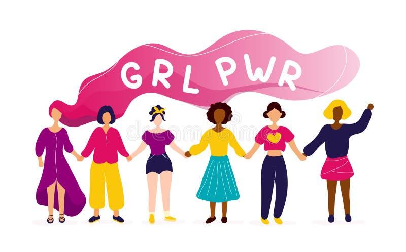 Kvinnor som rymmer h?nder med flickamaktbegrepp vektor illustrationer