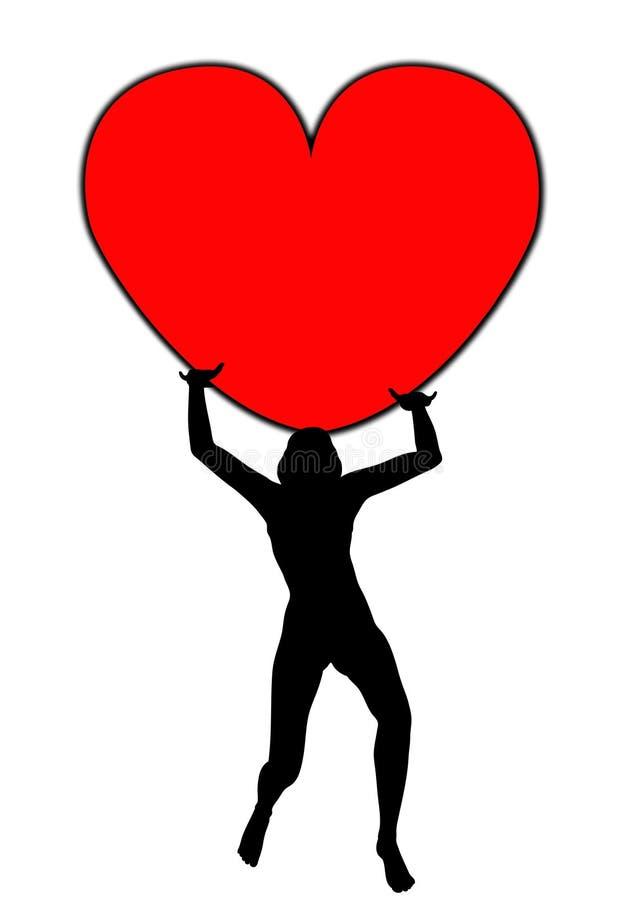Kvinnor som rymmer hjärta vektor illustrationer