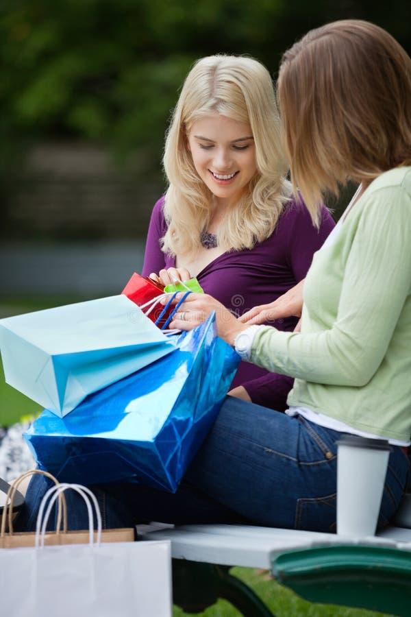 Kvinnor som ser in i shoppingpåsar arkivfoto