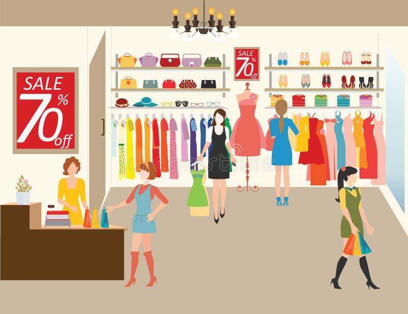 Kvinnor som shoppar i ett klädlager stock illustrationer