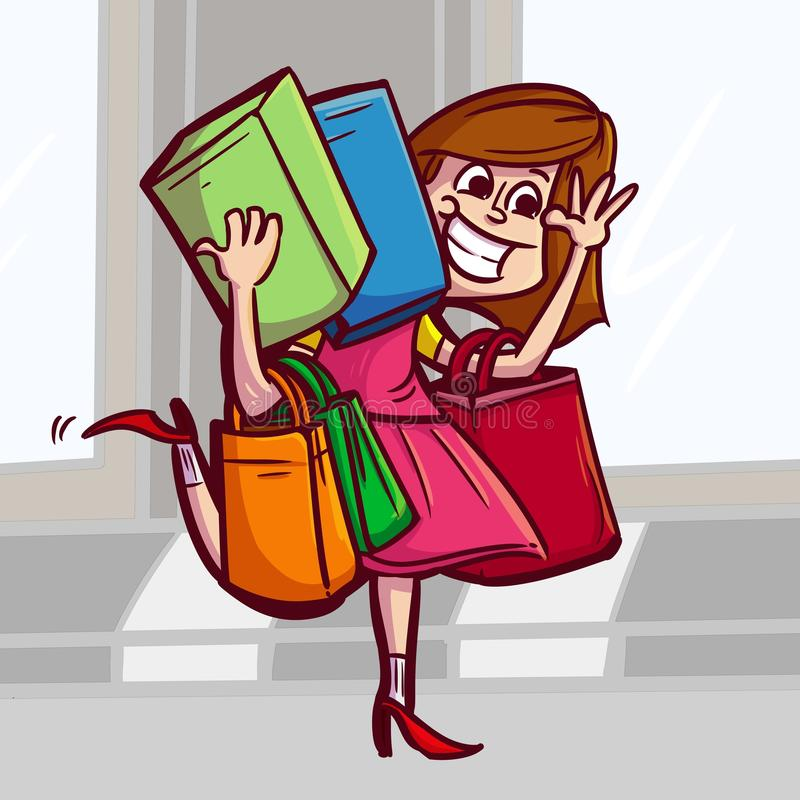 Kvinnor som shoppar till marknaden royaltyfri illustrationer
