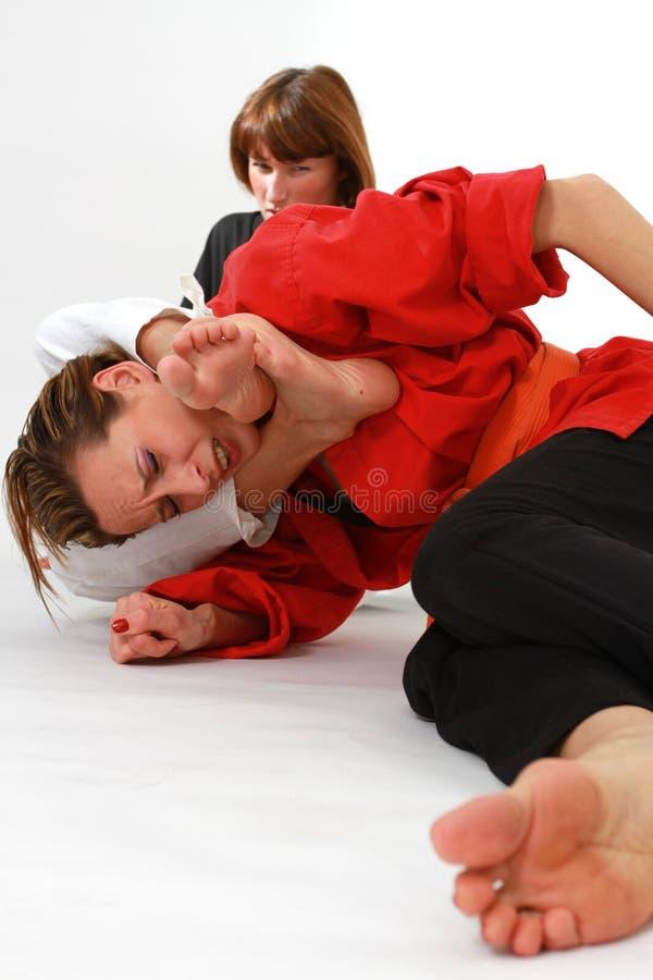 Kvinnor som slåss kampsportar royaltyfri fotografi