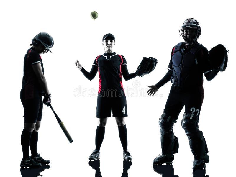 Kvinnor som spelar den isolerade konturn för softballspelare fotografering för bildbyråer