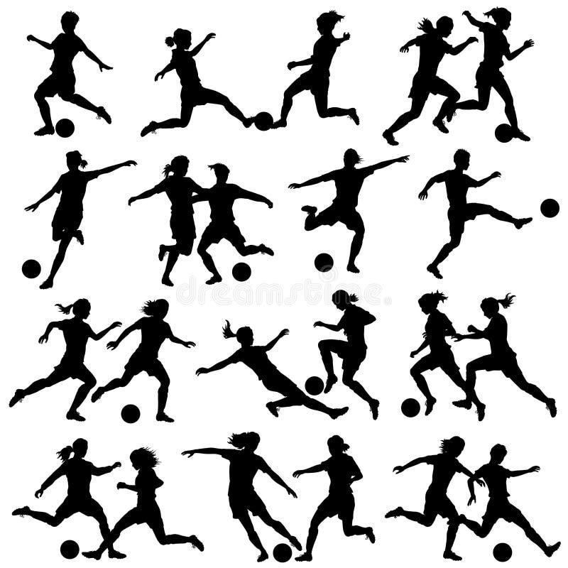 Kvinnor som spelar fotboll royaltyfri illustrationer