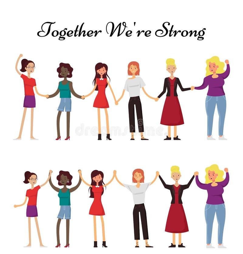 Kvinnor som tillsammans rymmer händer, plan illustration för vektor royaltyfri illustrationer