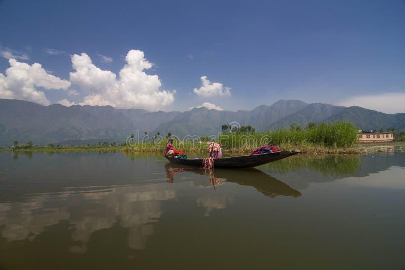 Kvinnor som tvättar torkdukar i Dal Lake royaltyfria bilder