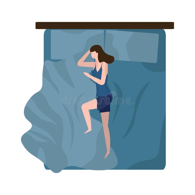 Kvinnor sover på natten i en trevlig säng - ovanifrån Begreppet bekvämt vila, slappna av, hälsosam sömn och livsstil Vector vektor illustrationer