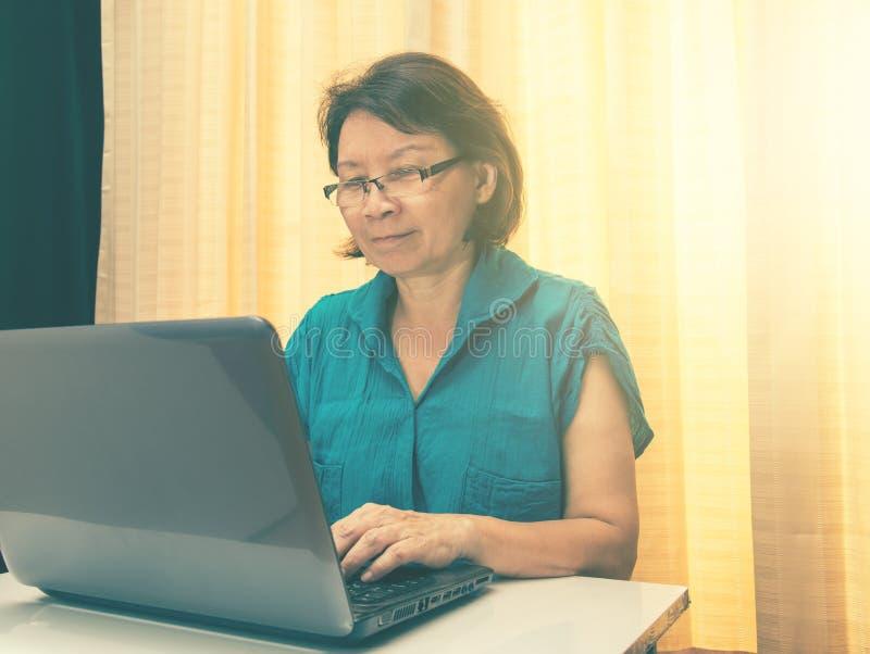 Kvinnor spelar en lycklig bärbar dator vinteg- och effektsolbelysning royaltyfri fotografi
