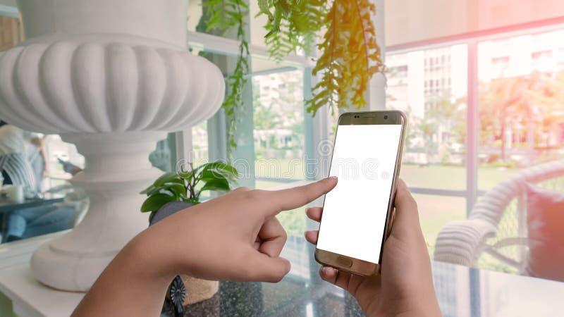 Kvinnor trycker på en smartphone royaltyfria bilder