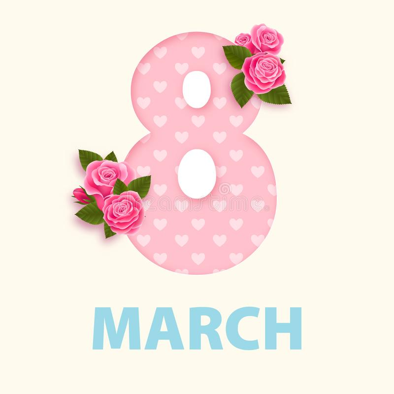 Kvinnors dag 8 marscherar designen eps 10 royaltyfri illustrationer