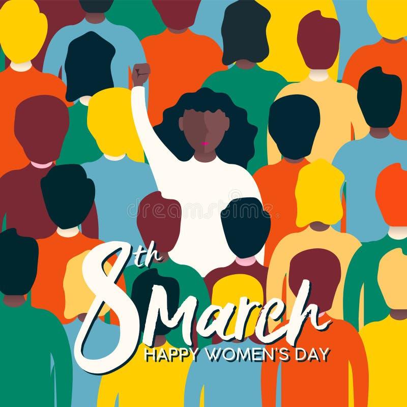 Kvinnors dag 8th marscherar kortet av kvinnan på protesten royaltyfri illustrationer