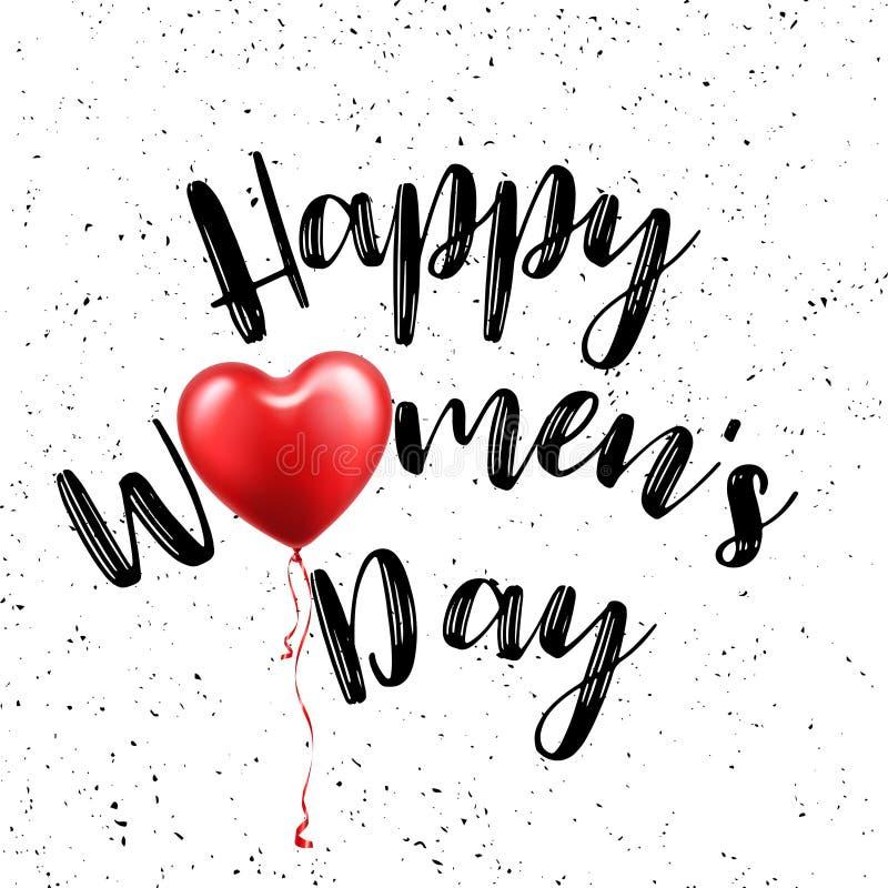 Kvinnors dagaffisch med text Hälsningkort med typografidesign och den röda ballongen Bokstäverbaner 8 ferie för mars royaltyfri illustrationer