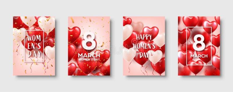 Kvinnors dagbakgrund med röda ballonger, hjärtaform Konfettier och band white för symbol för bakgrundsförälskelsered rose Mars 8  stock illustrationer
