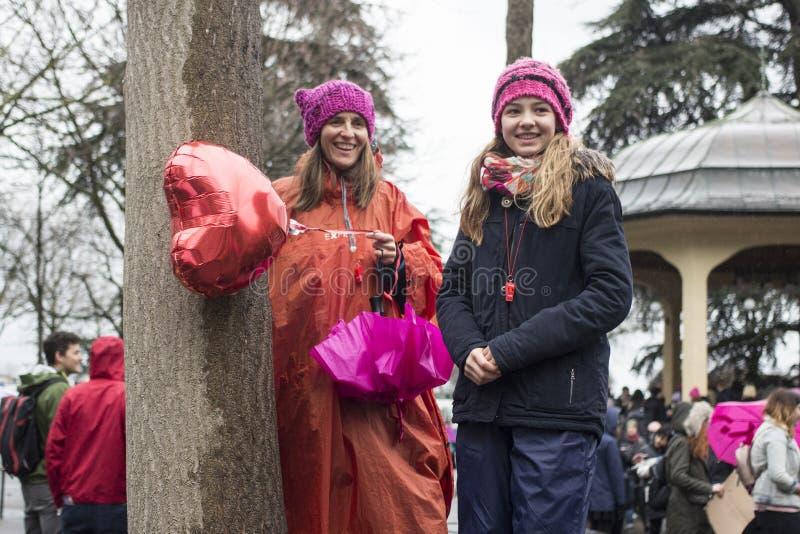 Kvinnors dagmarsch i Zurich royaltyfri foto