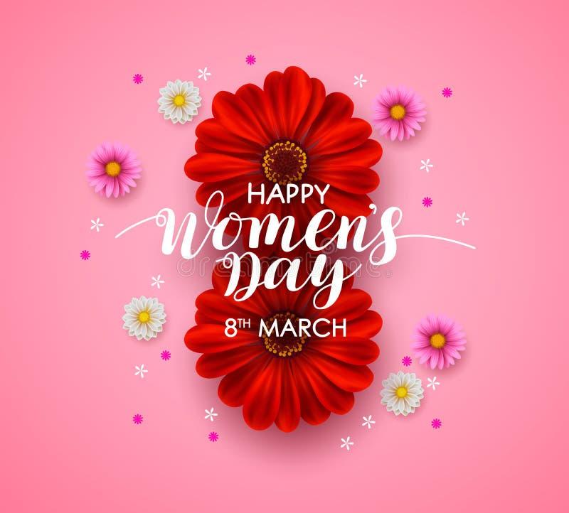 Kvinnors design för kort för hälsning för dagvektor Lycklig kvinnors dagtext med färgrika blommor i rosa bakgrund stock illustrationer