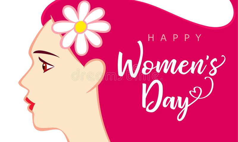 8 kvinnors för mars kort för hälsning för lycklig kvinna för dag härlig rosa royaltyfri illustrationer