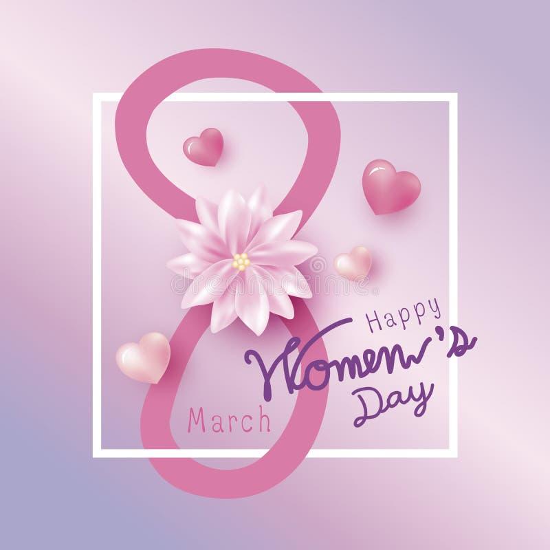 8 kvinnors för marsch lycklig design för dag av blomman och rosa färghjärta stock illustrationer