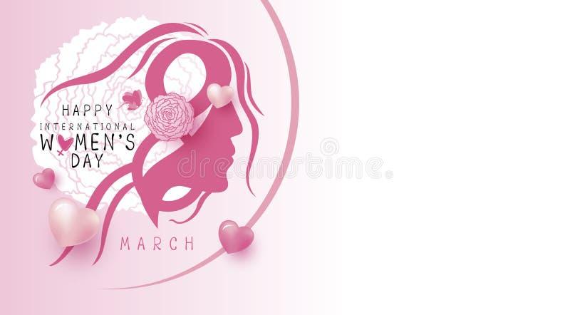 8 kvinnors för marsch lycklig design för dag på den vita bakgrundsvektorn vektor illustrationer