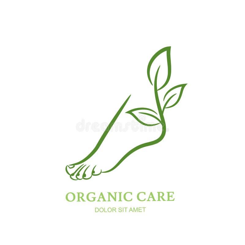 Kvinnors fot med den gröna växten och sidor Vektorlogo, etikett, emblemdesignbeståndsdelar royaltyfri illustrationer